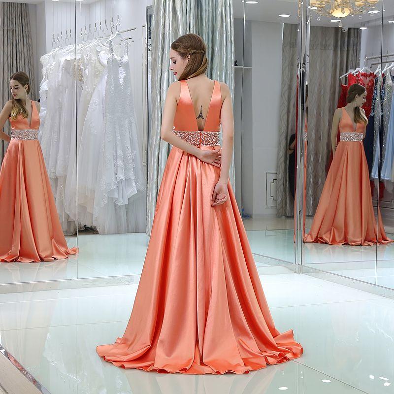 Naranja una línea vestidos de noche largos formales cuello en V profunda rebordear sin mangas mangas vestido de baile por encargo más el tamaño 16-B034