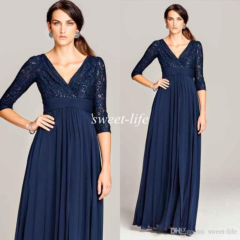 Dark Blue Plus Size Mother Of The Bride Dresses Vintage With ...