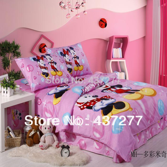 Girls Pink Mickey Minnie Mouse Bubbles Bedding Set 100% Cotton
