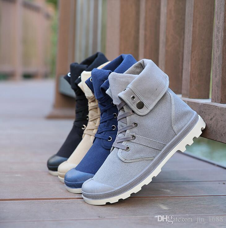 94af12ab296 Compre 2016 Hot Men Shoes Sapatos Tenis Masculino Moda Hombre Primavera  Otoño Botas De Piel De Cuero Para Hombre Casual High Top Canvas Men Shoes A   20.31 ...