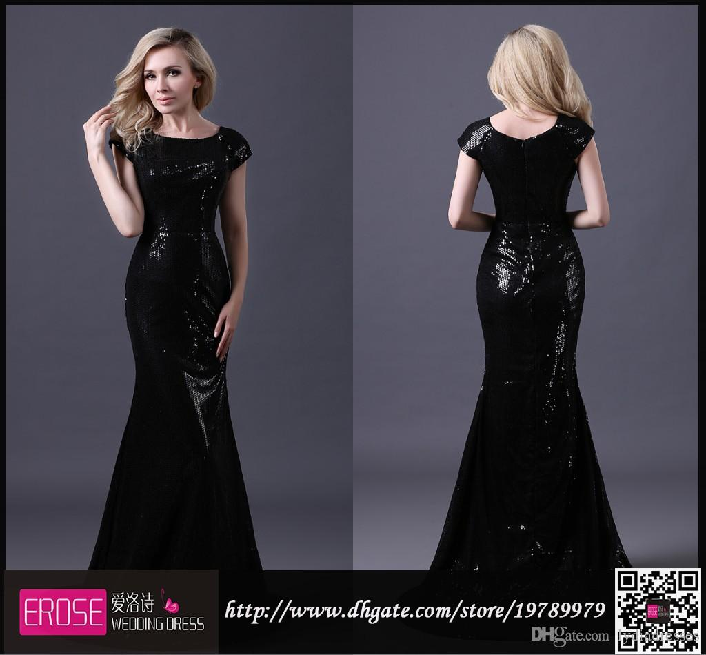 Black Mermaid Prom Dress Floor Length Court Train Cap Sleeve Elegant ...
