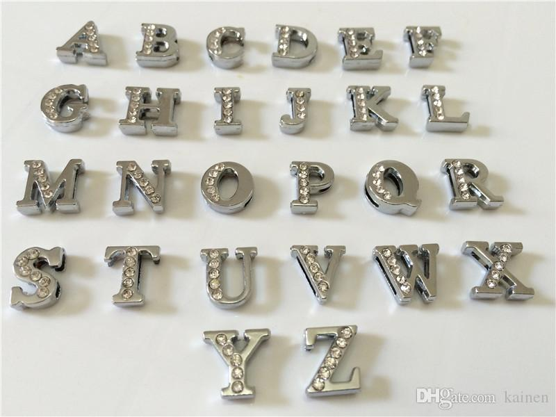 Wholesale 8MM Half Rhinestones Slide Letters A-Z Alphabet DIY Slide Charms Fit 8MM Wristbands Bracelets Belts Collars SL05