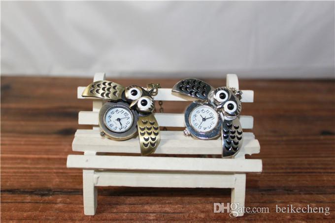 Leuke vintage nacht uil ketting hanger quartz zakhorloge ketting uil horloges pw006