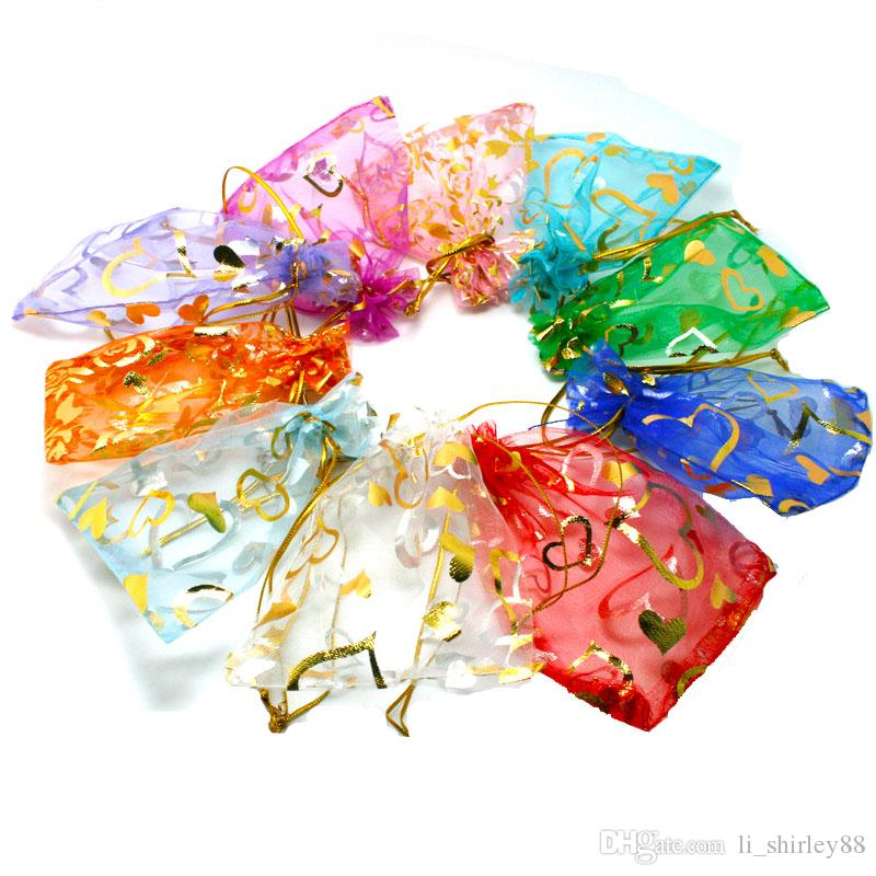 200ps9X12cm Jewelry Gift Organza Bags Wedding Candy Pouches Party Decoration Crafts Pack Supplies whosale