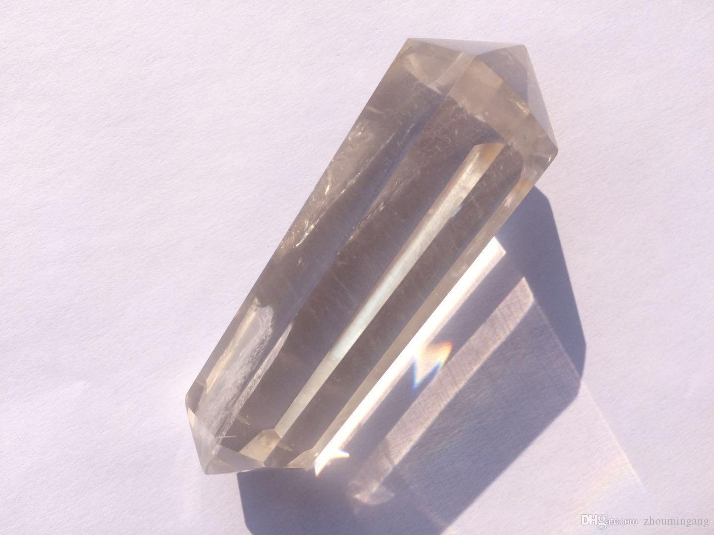 8 Sided facets Prism Style Clear Natural Quartz Crystal Double Terminated Point Wand Large healing point