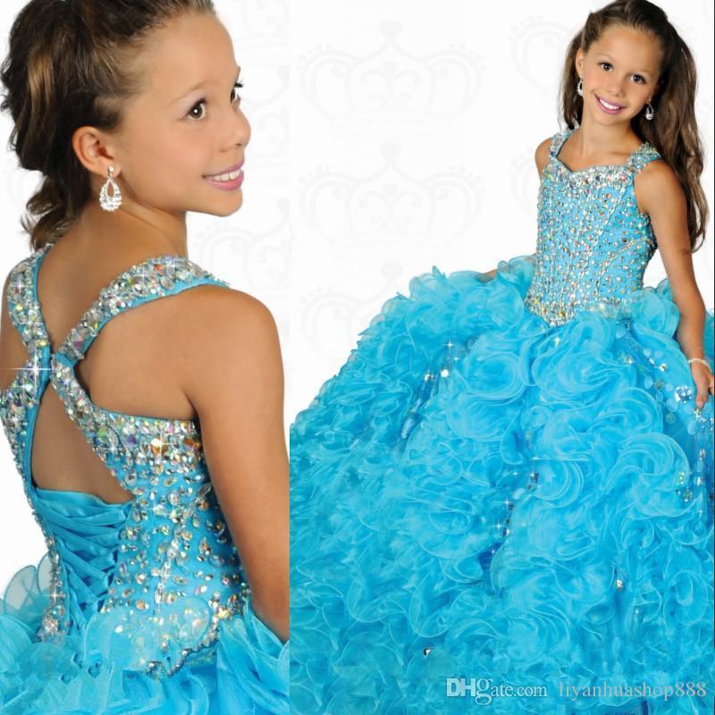 2015 mais bela praça a linha de vestidos de baile de organza frisada meninas de cristal pageant vestidos ritzee formal festa de crianças vestidos de baile personalizado feito
