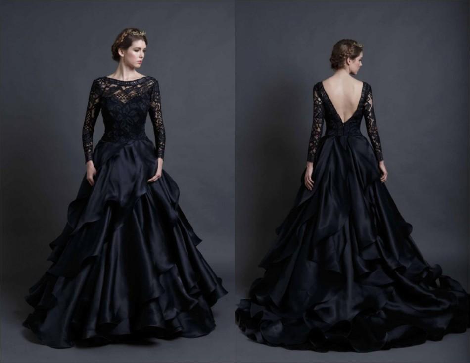 Compre Impresionante Vestido De Novia Negro Mangas Largas Backless ...