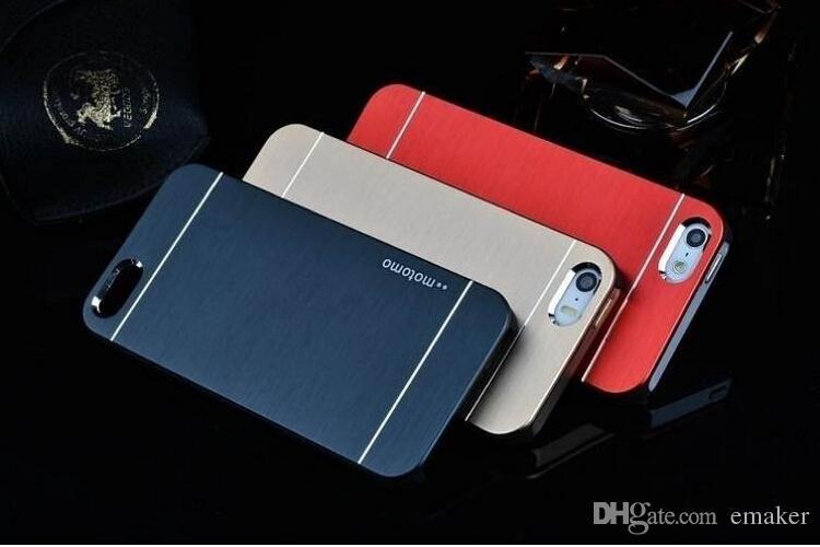Роскошные ультра тонкий Motomo щеткой алюминиевый металлический шифер жесткий задняя крышка чехол для iphone 5 5s 6 6 S plus Samsung S7 edge S4 S6 edge DHL