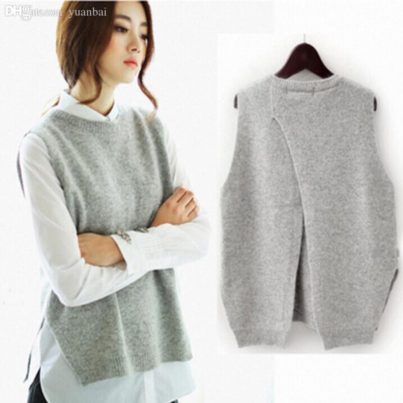 2019 Wholesale Women Waistcoat Jacket Gray 2015 Autumn Fashion Loose