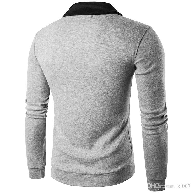 Cardigan Men Hot Jackets New Design Coats Mans V-Neck Fashion Man Coat High Quality Single-Breasted Cotton Cardigans Contrast Color Men Tops