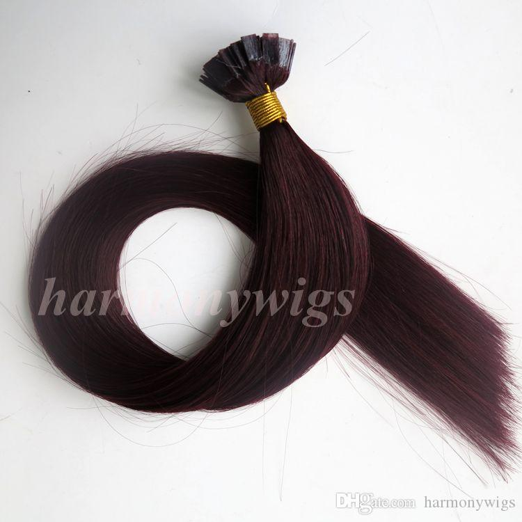 50g 50Strands Pro bonded Flat tip hair extensions 18 20 22 24inch Brazilian Indian human hair extensions
