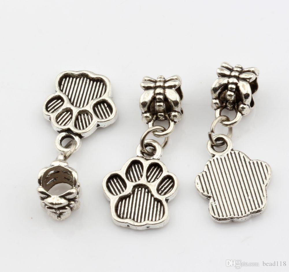 Hot Sales ! Antique Silver Tone Paw Print Dangle Beads Fit Charm Bracelets DIY Jewelry 12x27mm