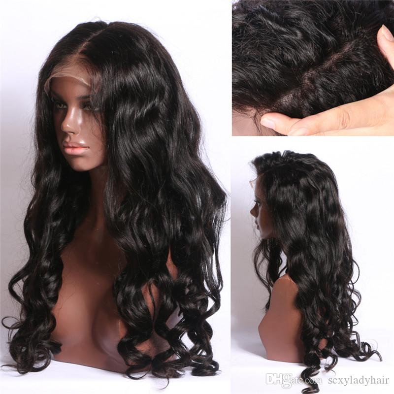 Hotselling Wavy Brazilian Full Lace Human Hair Wigs Glueless Pre Plucked Lace front Wig with silk base Bleached Knots
