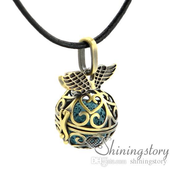 Asas coração openwork aromaterapia colar difusor medalhões difusor de óleo essencial por atacado jóias aromaterapia colar difusor pingente