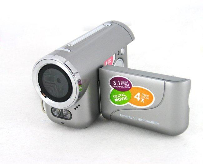 "3.1Mp max Mini Digital Video Camera with 0.3Mp CMOS Sensor 4x Digital Zoom and 1.44"" TFT LCD Display, Free Shipping"