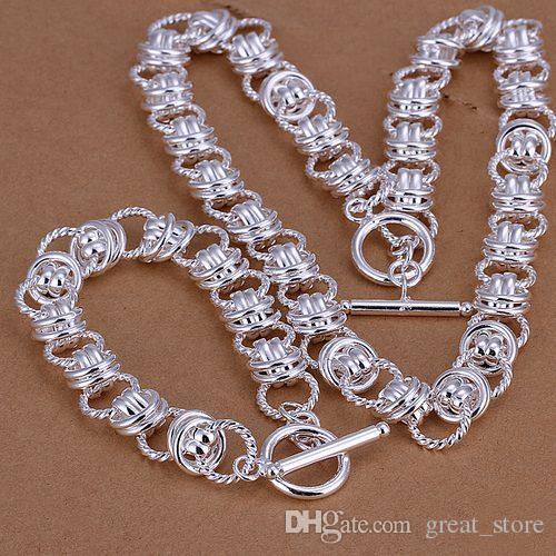 112g lourds bijoux en argent Sterling ensemble GS19 Haute qualité unisexe 925 argent plaqué collier charme bracelet ensemble en gros vente au détail, ordre de mélange
