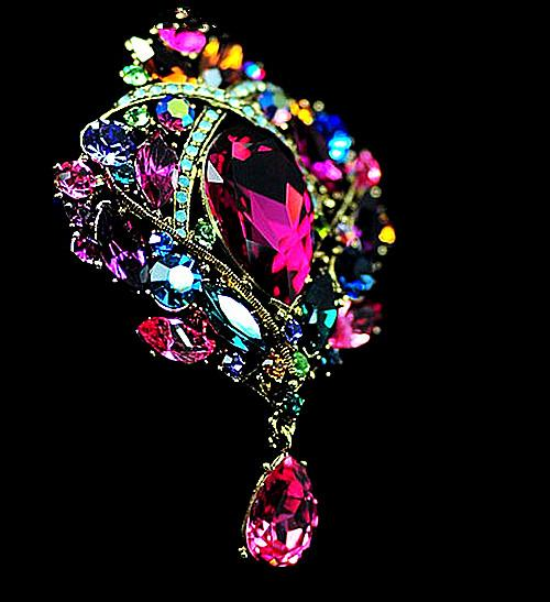 Elegant Bronze Plated Large Size Multicolored Rhinestone Crystal Water Drop Bridal Jewelry Pin Brooches for Wedding