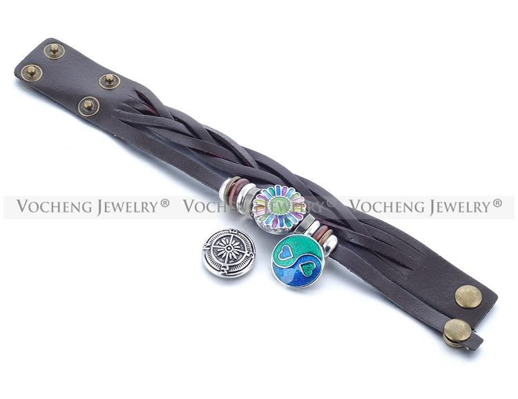 Vocheng NOOSA Armband-Großverkauf-Mischung färbt Verschluss Schmuck echtes Leder 18mm Metallknopf-Verschluss-Charme-NN-358