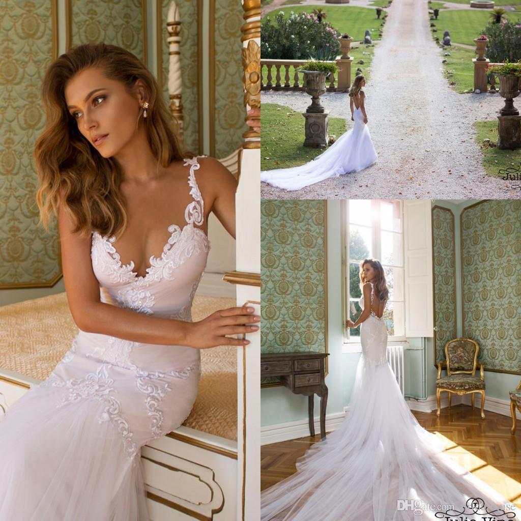 2016 Wedding Dresses Mermaid Julie Vino Custom Made V Neck Lace Spaghetti Straps Backless Bridal
