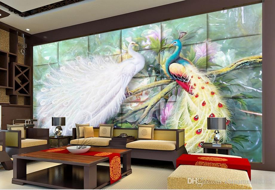 Papeles pintados decoración del hogar para niños Millennium Love 3d wallpaper mural personalizado pavo real