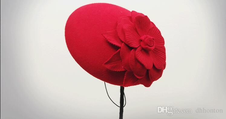 Autumn and winter knit cape wool Little hat The bride headdress berea cap elegant stewardess cap headdress HT19