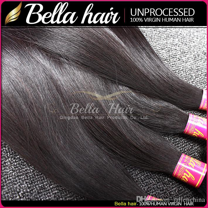 Rett 3 hårbuntar med 5 * 5 stängning peruanska brasilianska naturliga svarta jungfruväv Bellahair