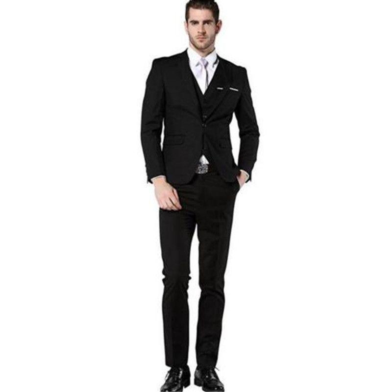 Tailored Men's Slim Fit Dress Suits Prom Party Wedding Suit Set Black coat + trousers + vest