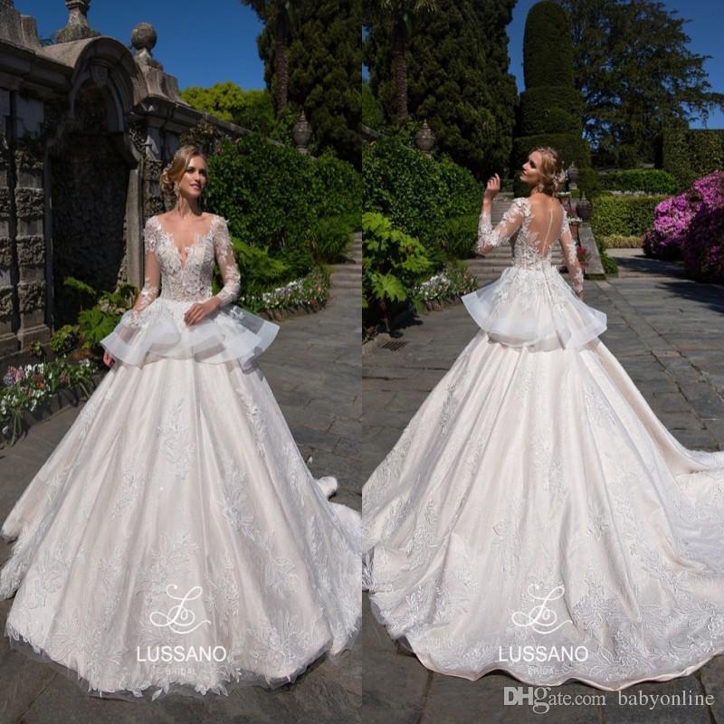 Beautiful White Appliques Sheer Long Sleeves Wedding Dresses Ball ...