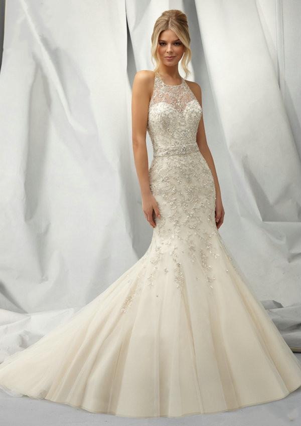 Trendy 2015 Mermaid Sheer Wedding Dresses Jewel Neck Beaded Bodice Sash Cut Out Back Covered Buttons Sweep Train Lace Bridal Gown Dress Gowns Plus Size