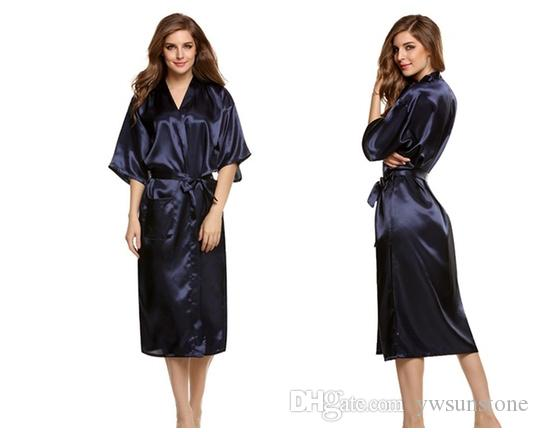 Art- und Weisefrauen feste Silk Kimono-Robe für Brautjunfern, Hochzeitsfest-Nachtkleid-Pyjamas, 5 Farben verfügbares freies Verschiffen