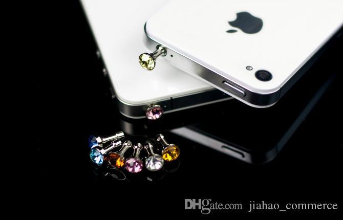 1000 adet / grup Lüks Telefon Aksesuarları Küçük Elmas Taklidi 3.5mm Toz Fiş Kulaklık Fiş Akıllı Telefon Için, Cep telefonu, Android telefon
