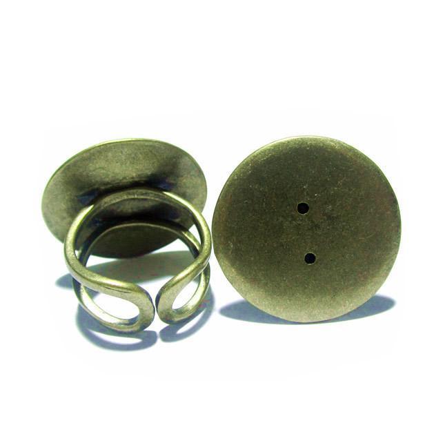 ビーズニス調節可能な指輪ベースベゼルリングブランク16 mmフラットパッド真鍮の固有の宝石卸売リングメイキングID 8130