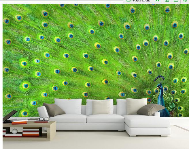 Customize Wallpaper Papel De Parede Peacock Feather Decorative Painting Wall Sticker 3d Free Shipping6987