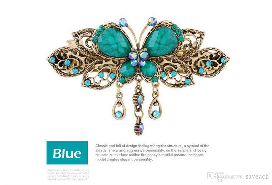2016 Elegant Women Retro Vintage Crystal Diamond Butterfly Flower Hairpins Hair Clip Barrette Hair Band Accessories