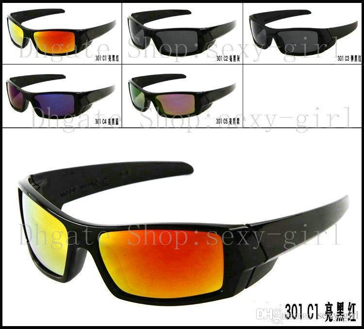 Erkek güneş gözlüğü Parlak siyah çerçeve / Gökkuşağı Lens renkli gözlük Moda Yıldız Sunglass / sunglass No Case.