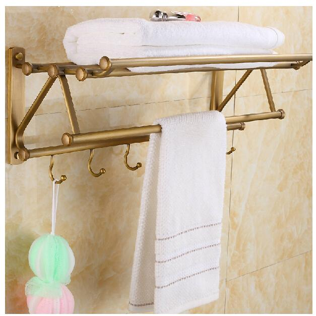 2018 Wall Mounted Antique Brass Towel Rack Holder Foldable Towel ...