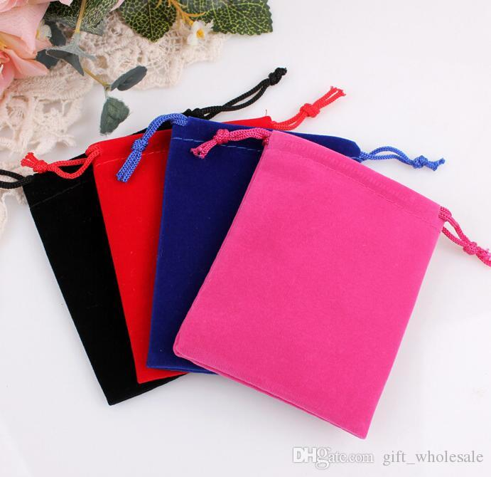 14 Sizes Velvet Pouches Rings Necklace Earrings Stud Bracelets Bangle Jewelry Gift Packaging Bags can print logo DIY Guest