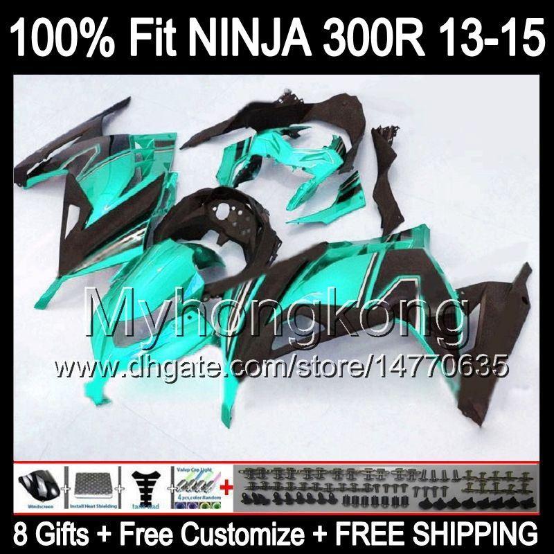8Gifts + Injectie voor Kawasaki 300 300R Cyaan Zwart 13 14 15 ZX300R EX300 Y2228 ZX 300R 2013 14 2015 EX300R Glanzend Cyaan 13-15 Kuip