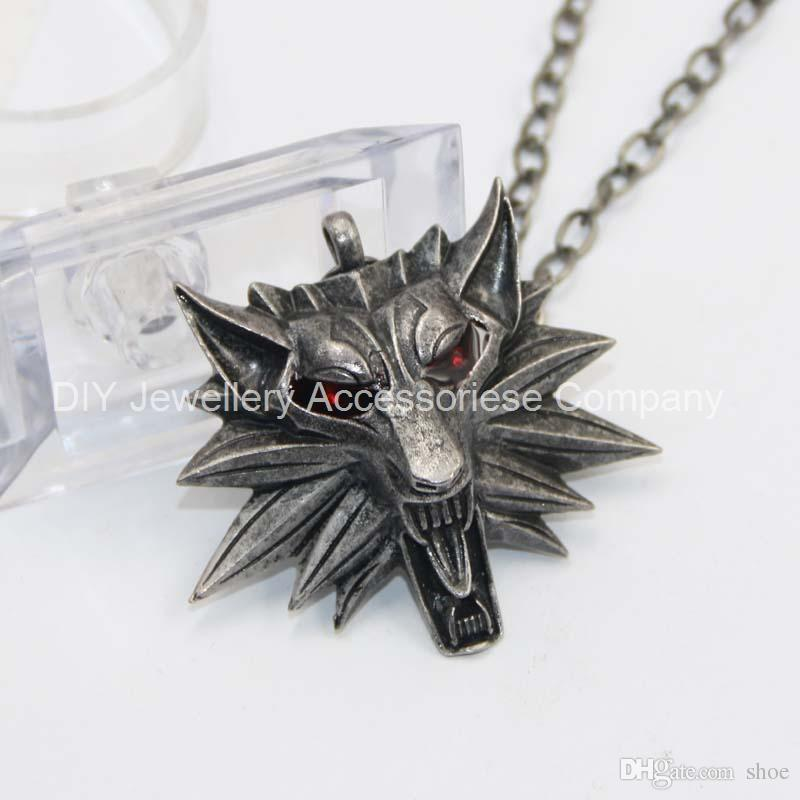55cm 99% red eyes original Witcher pendant / wizard Witcher 3 medallion pendant necklace / the wild hunt 3 figure game wolf amulet