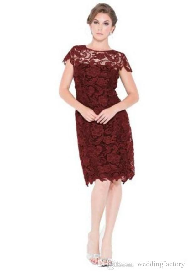 花嫁のドレスオフの短い母親の短いレースの膝の長さフォーマルガウンのためのフォーマルガウンウェディングパーティーパープルマルーンロイヤルブルーブライドメイドドレス安い