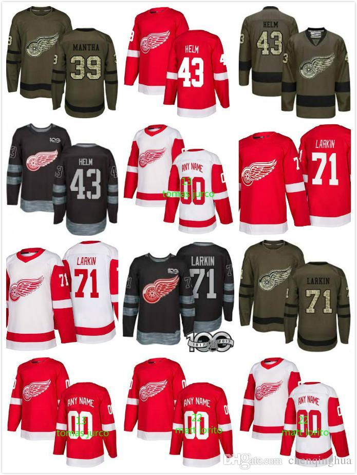 Men Detroit Red Wings  43 Darren Helm  13 Tomas Jurco  71 Dylan Larkin  22  Matt Lorito 39 Anthony Mantha 2017-2018 Stitched NHL Jersey Darren Helm  Jerseys ... 9861cd629