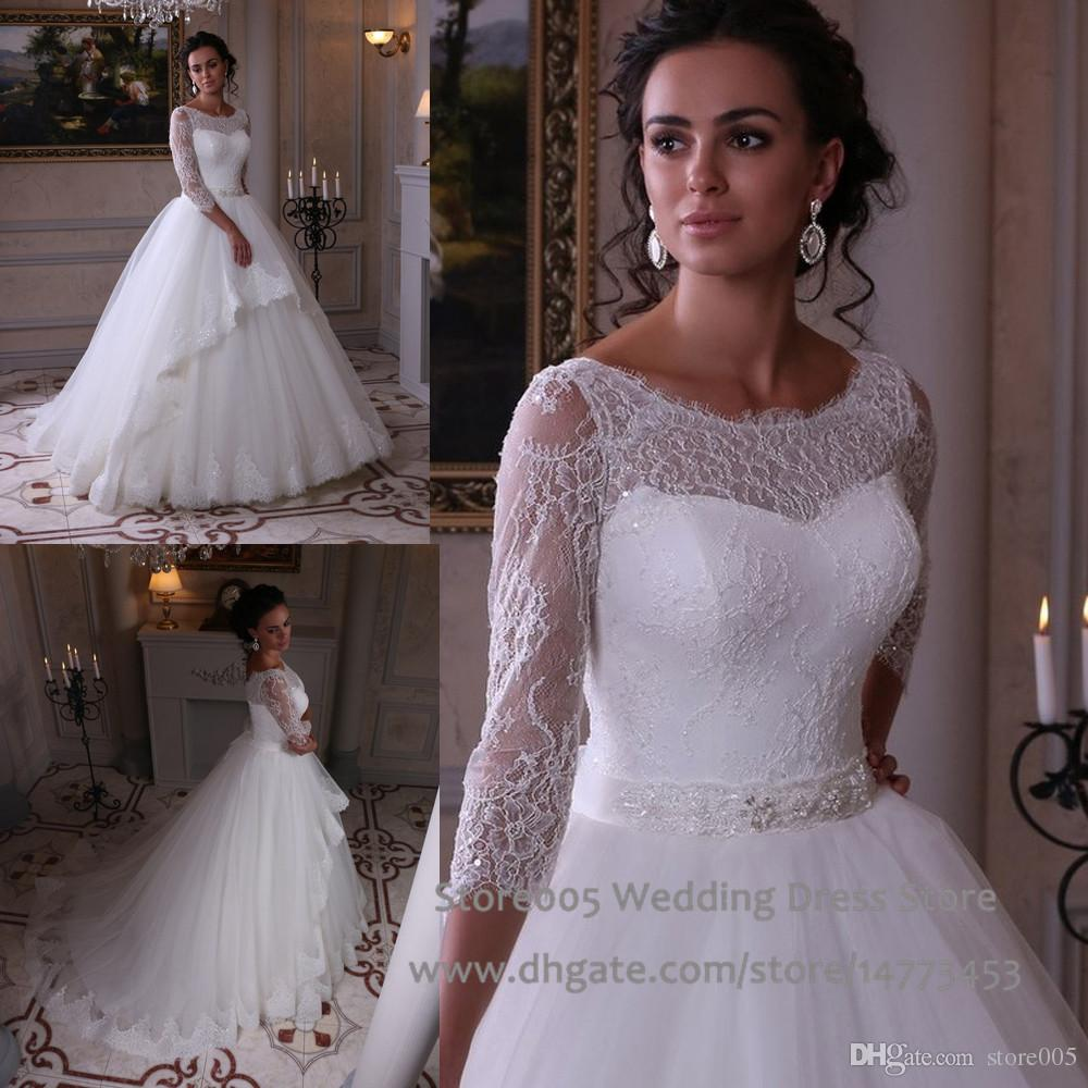 Modest Wedding Dress 2016 New Scoop 3 4 Sleeves Lace Bridal Gowns Appliques Ball Gown With Train Beaded Belt Vestido Noivas W4273 Sparkly Dresses