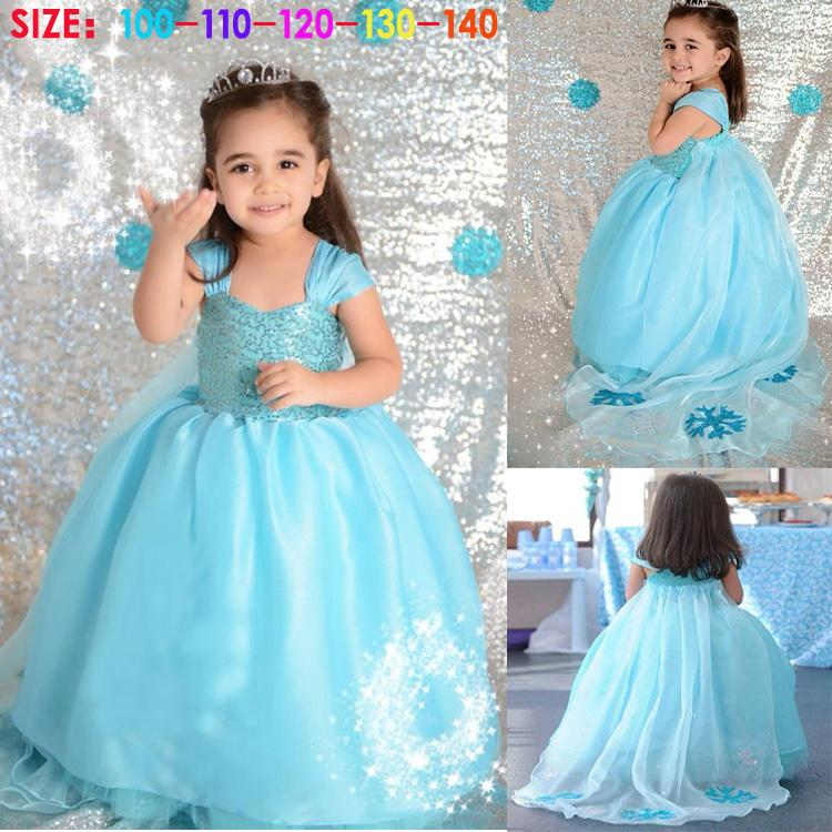 Kids Cosplay Costume Dress Cinderella Elsa Baby Girls: Baby Girl Frozen Children Kids Anna Elsa Blue Princess