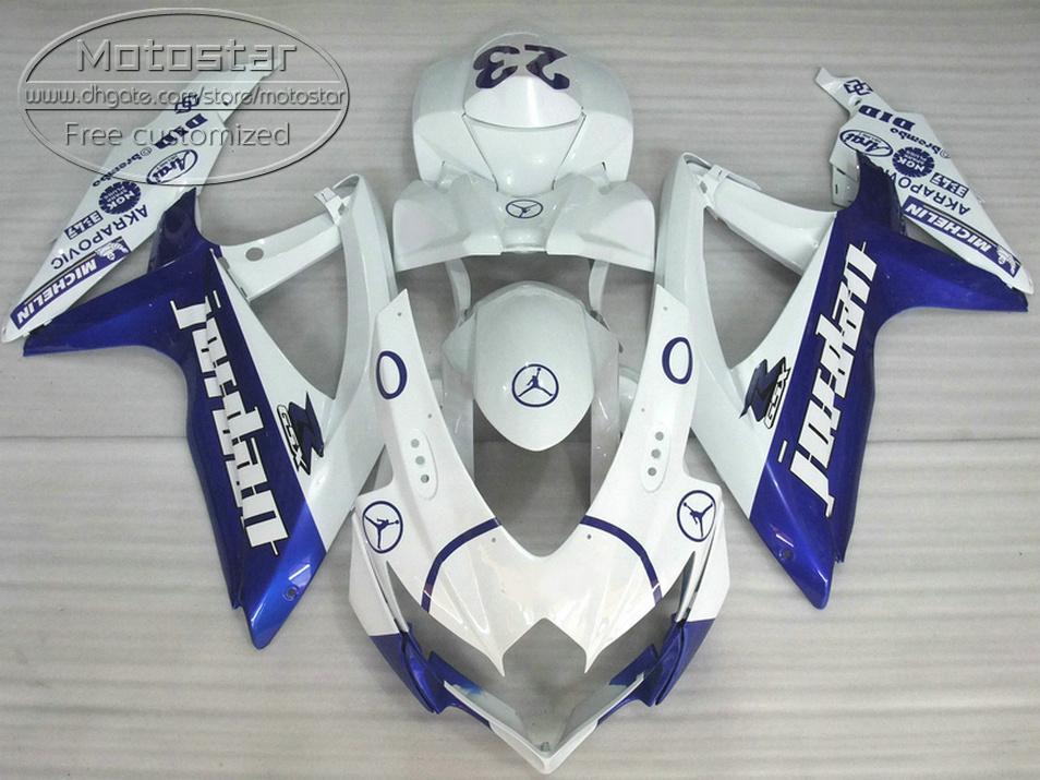 ABS fairing kit for SUZUKI GSX-R750 GSX-R600 2008 2009 2010 K8 K9 blue white fairings set GSXR 600 750 08-10 TA29