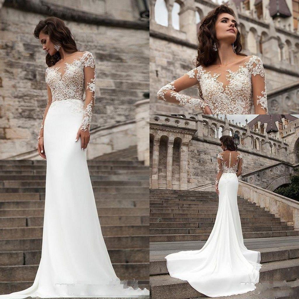 2018 New Long Sleeves Lace Sheath Wedding Dresses Milla Nova Mermaid Sweep  Train Sheer Back Bohemian Wedding Dress Plus Size Bridal Gowns Plain Wedding  ... d97230ad775
