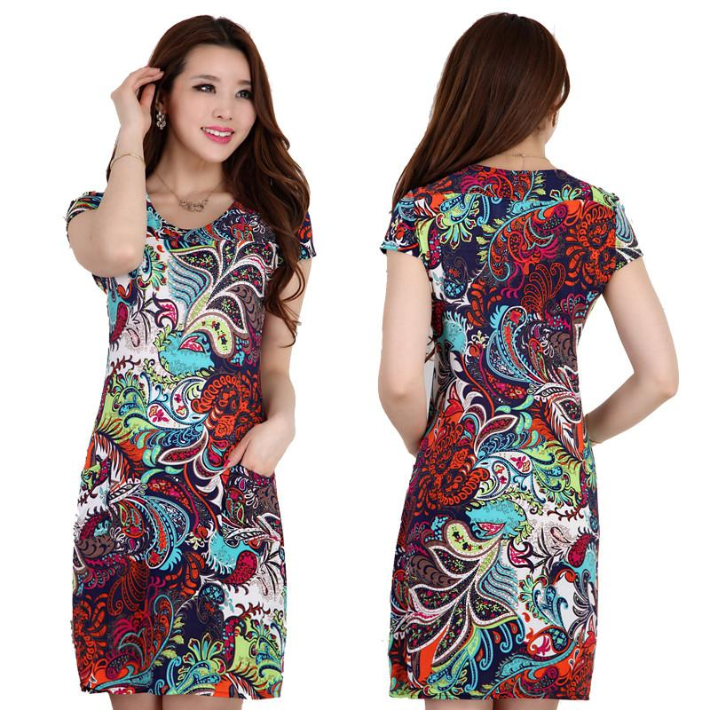2016 Women\'S Summer Printed One Piece Dress Mother Clothing 40 50 ...