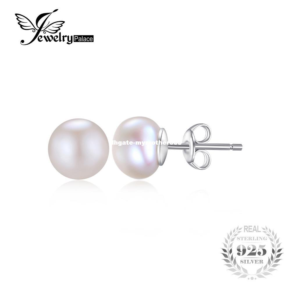 JewelryPalace 6-10mm Freshwater Cultured Pearl Button Ball Stud Earrings 925 Sterling Silver NK4EXs