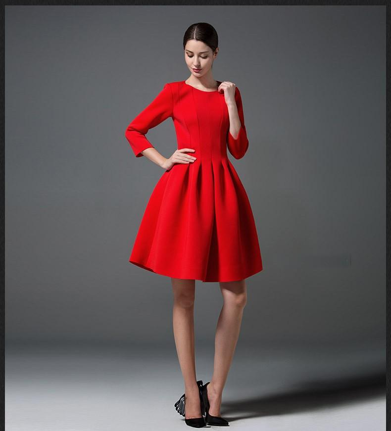 Simple Elegant Wedding Dress With Sleeves Woman And More: New Spring Autumn European Simple Dress Three Quarter