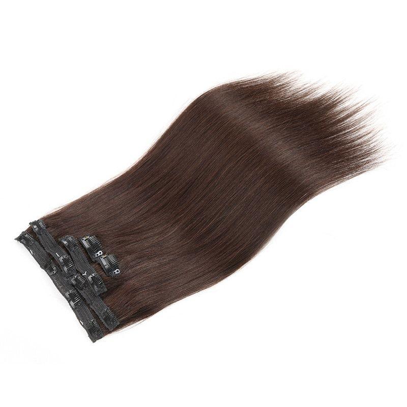 Elibess Brasilianisches Remy Menschenhaar Clip in Extensions Gerade Clip auf Menschenhaaren # 1B # 2 # 8 Brown # 613 Blonde Haare