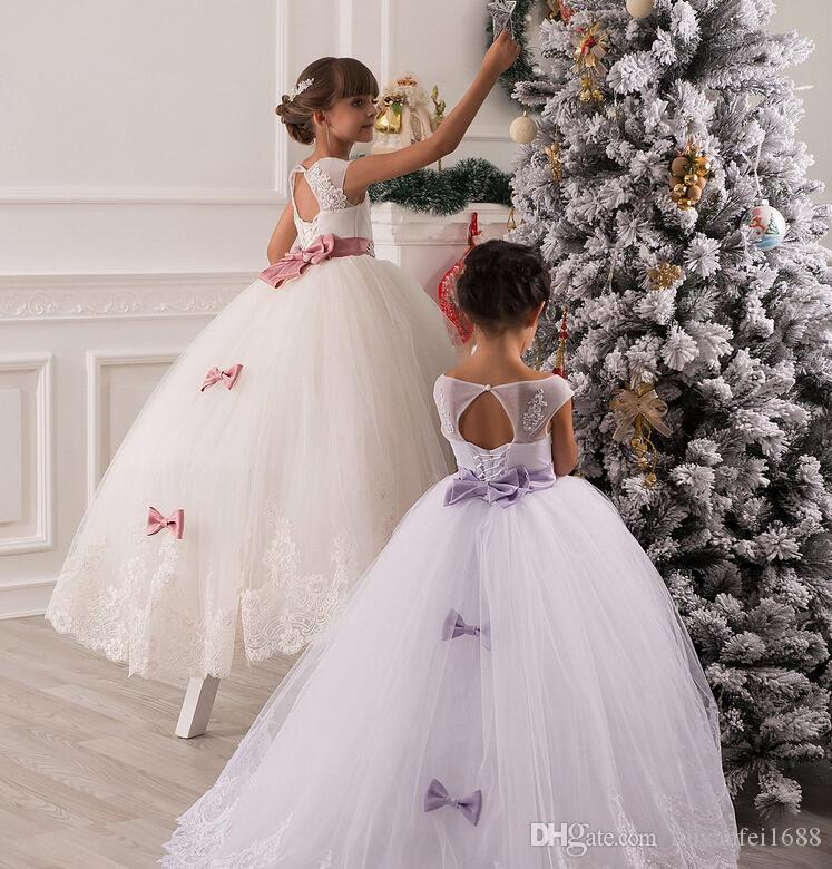 Scoop Lace Sash Bows Ball Gown Net Baby Girl Festa di compleanno Natale Princess Dress Bambini Girl Party Abiti Flower Girl Dresses